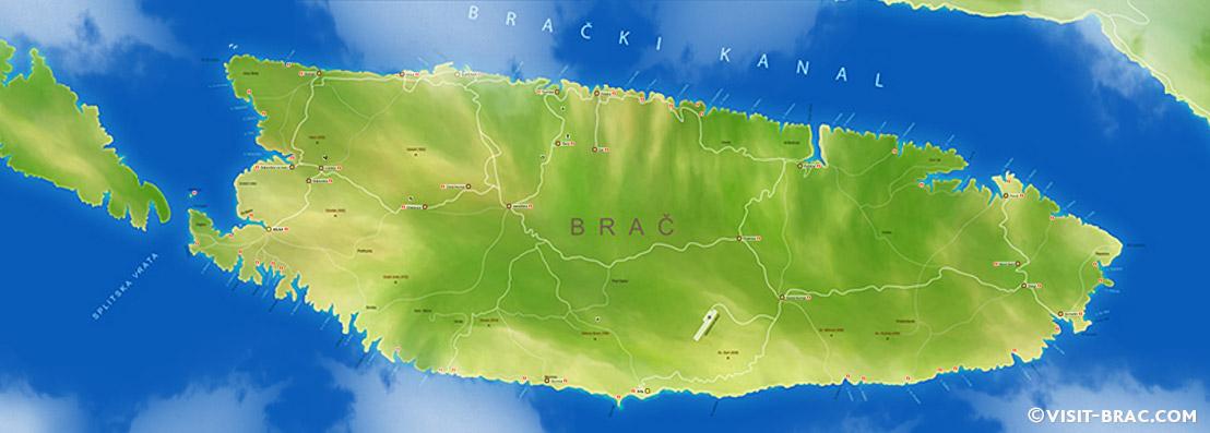 Mappa di Isola di Brač